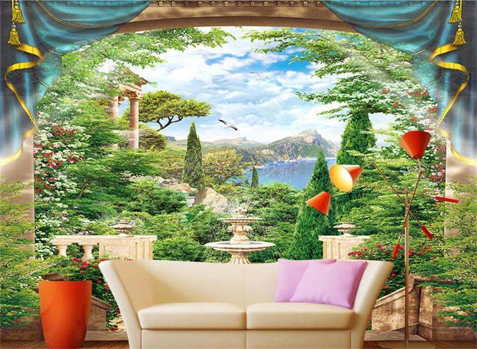 3d Custom photo mural 3d wallpaper Trees landscape lake sky setting wall decor painting 3d wall murals wallpaper for walls 3 d 3d wall murals wallpaper for living room walls 3 d photo wallpaper sun water falls home decor picture custom mural painting