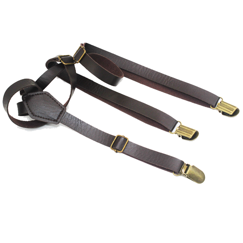 Fashion Suspenders Fashion PU Leather Braces Belt  Ancient Bronze Clip-on Men Women Suspenders