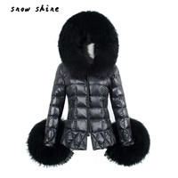 Snowshine #4503 Nuevas Mujeres del Invierno Abajo Cubre Parka Cuello de Piel de Algodón Con Capucha Chaqueta Acolchada envío gratis