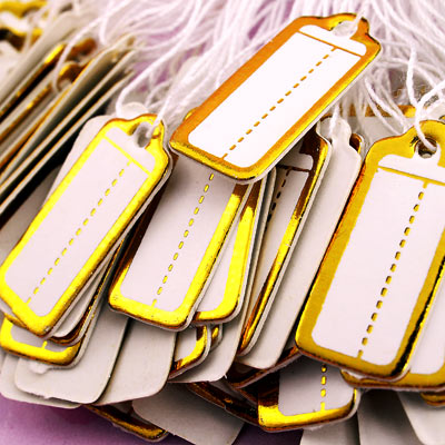 De Bijoux 2500pcs 22*10mm Gold Color Label Tie String Price Display Tags,Jewelry Display