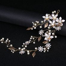 hairpin golden flower leaves pearl  hair ornanments wedding  bridal hair accessories bridesmaid dress accessories tiara H020 цена в Москве и Питере