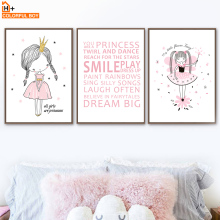 COLORFULBOY Wall Art Print Canvas Painting Princess Girl Quotes Poster Nordic Style Kids Decoration Pictures Room