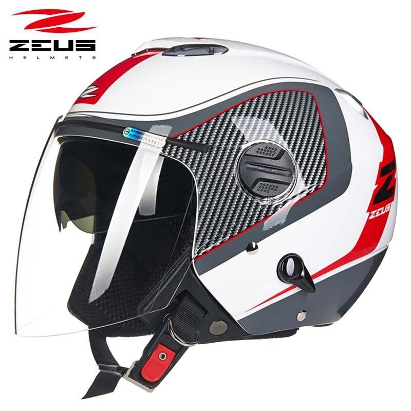 Four seasons ZEUS Red white double lenses motocross motorcycle helmet ZS-202FB half face motorbike helmets scooter bike
