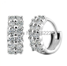2015 Top Quality Wholesale Fashion Jewelry 2 Rows CZ Diamond Crystal Hoop Dangle Buckle Earrings Ear Studs Free Shipping