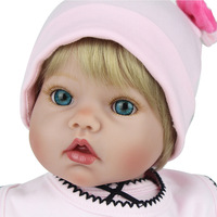 50cm Silicone Reborn Baby Doll Blue Eyes Baby Alive Soft Toys For Bouquets Doll Bebe Reborn Doll Playmate Gift For Girls