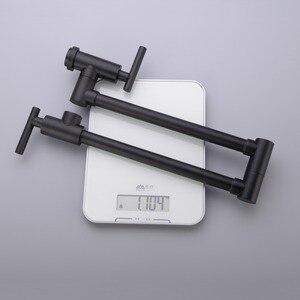 Image 3 - حنفيات مطبخ نحاسية سوداء من AODEYI قابلة للطي وعاء حشو 2 مقابض صنبور للطبخ على الحائط 13 012B