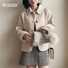 RUGOD Fashion Casual Wool Coat Women Long Sleeve Solid Simple Coat Autumn Winter Warm Korean Coat For Female casaco feminino