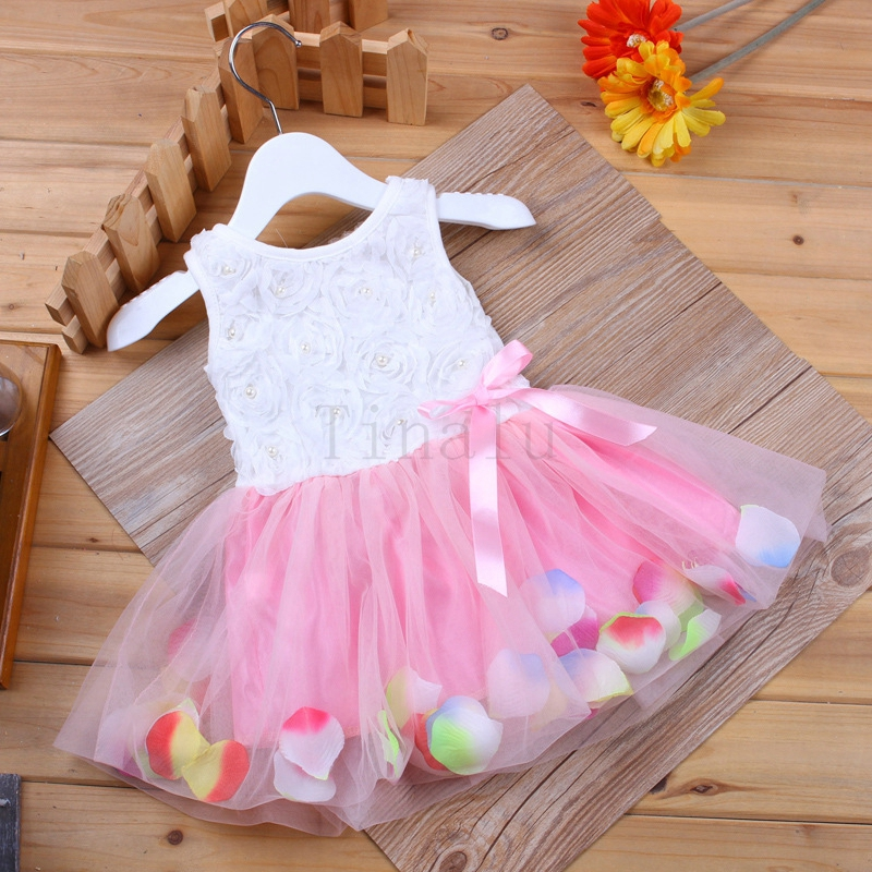 New Girls' Pink Rose Petal Hem Dress Girls Floral Clothes 3 Different Colors Cute Kids Clothes Princess Dress