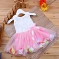 New Girls' Pink Rose Petal Hem Dress Girls Floral Clothes 3 Different Colors Cute Kids Clothes Princess Dress