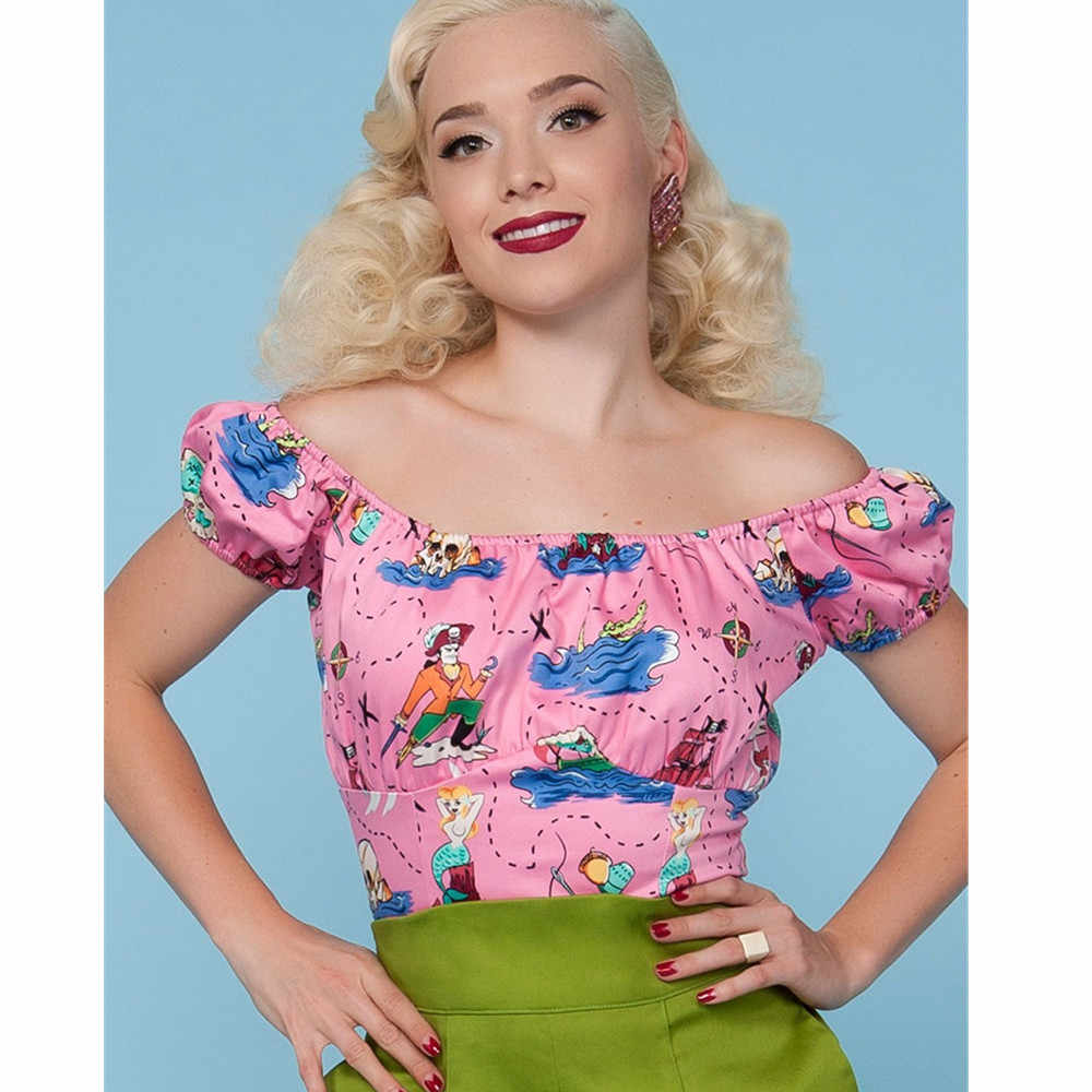 f409333da30 30- women vintage 50s retro off shoulder couture peasant crop top in  neverland print pinup