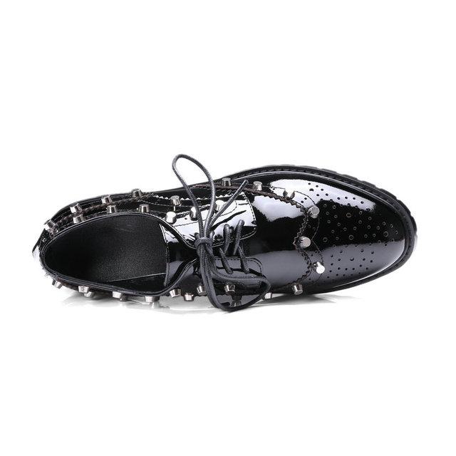 ESVEVA 2017 Women Pumps Genuine Leather Square Low Heel Lace Up Rivets Casual Shoes Pointed Toe Autumn Ladies Shoes Size 34-39