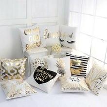 2019 Cushion Cover Gold Linen Cotton Soft Throw Pillow Cover Decorative Sofa Pillow Case Home Decor Coffee Car Seat Pillowcase