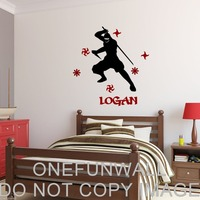 Personalized Name, Ninja & Throwing Stars Vinyl Wall Decal Sticker Decor