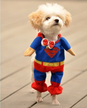 New Cute Pet Canine Cotton Superman Garments Costumes Go well with Pet Jumpsuit Canine Garments Attire Scorching