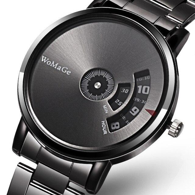 Black Stainless Steel Quatrz Watches Men 2