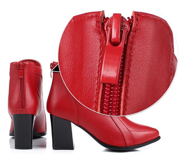 Appartements Everest Bottes marron Hiver Chaussures Zip Véritable rouge gris Noir Automne rose 34 Ensoleillé Cuir En Courtes Femmes Cheville 41 pvqwFd
