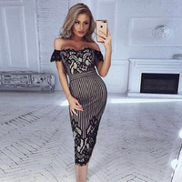 Summer Bandage Dress High Quality Rayon Off Shoulder Bodycon Midi 2018 New Model Wedding Cocktail Party Dress Vestios Wholesale