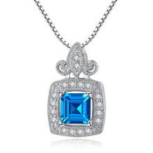 Aquamarine Jewelry Gem Stone Sky Blue Sapphire Pendant Necklace Solid 925 Sterling Silver Fashion Jewelry For Women недорого