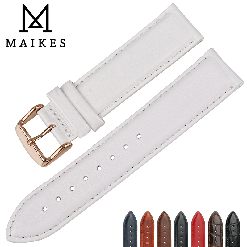 MAIKES Fashion Leather Watch Band White With Rose Gold Clasp Watchband 16mm 17mm 18mm 20mm For DW Daniel Wellington Watch Strap все цены