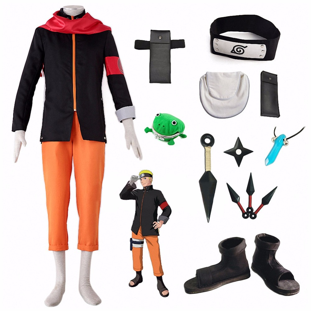 Full Set Naruto Cosplay Uzumaki Naruto Costume Anime Shoes Props For Party Kids And Adult