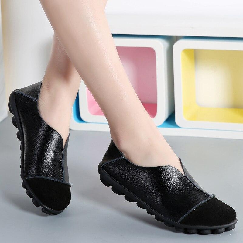 Buy AURONET Big Size 35-43 Leather Women Flats High Quality Women Loafers Comfortable Soft Bottom Mother Work Shoes Bayan Ayakkabi