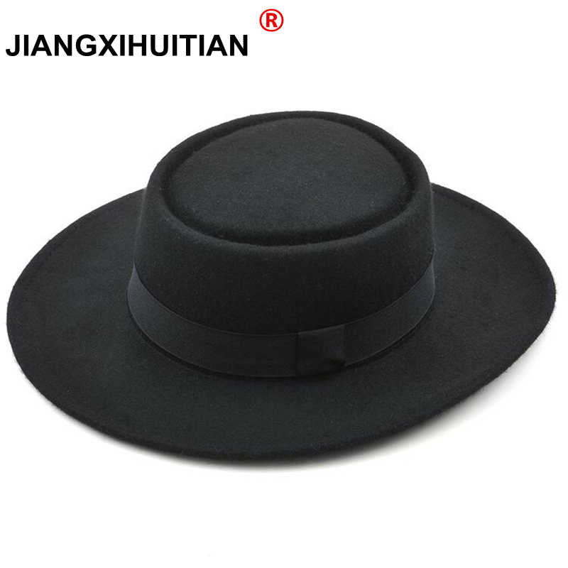 GD New 2017 Fashion high quality 100% Australia Wool Men's Fedora Hat with Pork Pie Hat for Classic Church Wool Felt Hat