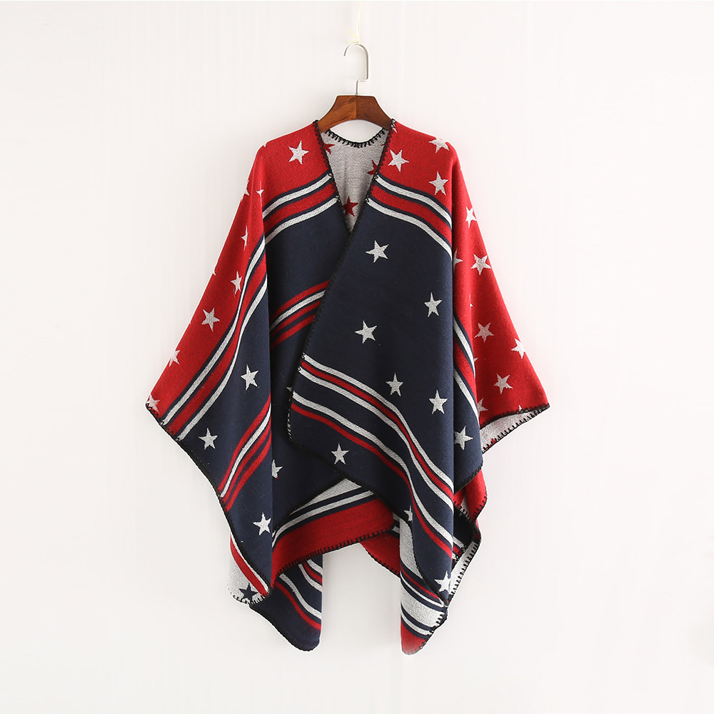 b7208002e FS Brand 2018 Cashmere Scarf Red Star Striped Women Autumn Winter Ponchos  And Capes Knit Thick Warm Blanket Pashmina-in Scarves from Women's Clothing  ...