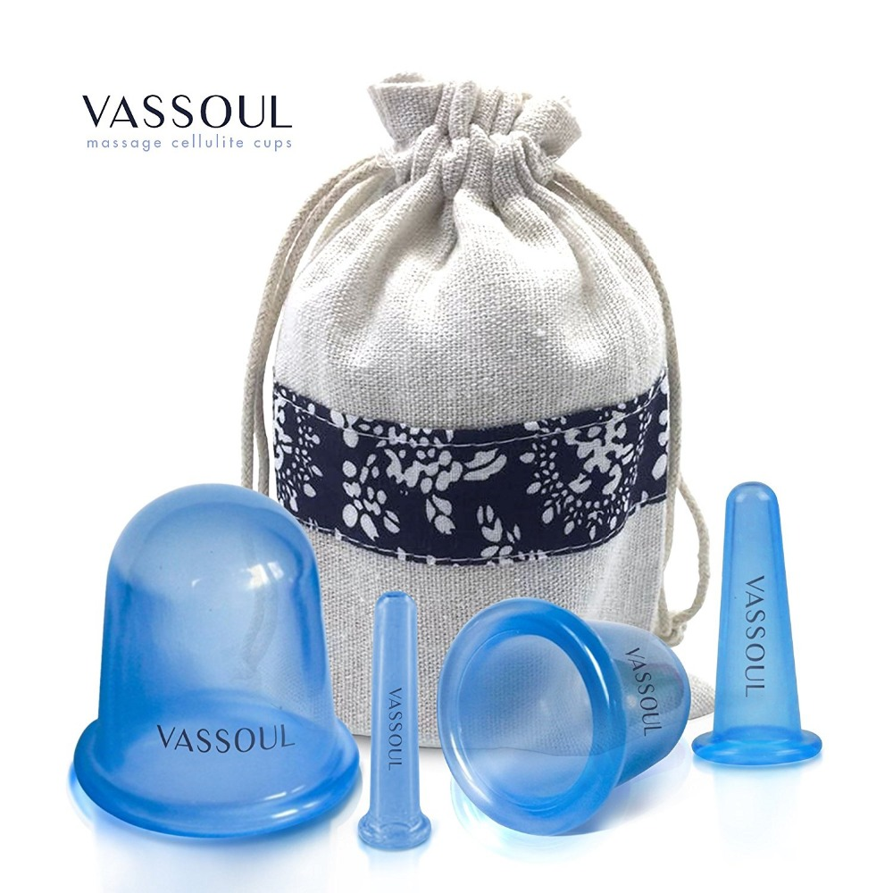 VASSOUL Anti Cellulite Silicone Neck Face Body Massage Cupping Cups Blue x 4 Sizes with full Instructions free shipping 4pcs body anti aging effect suction silicone massage cupping therapy improving skin health anti cellulite cups small size