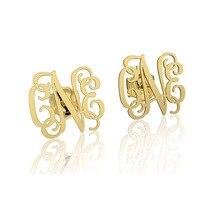 Pendientes de oro Del Monograma Personalizada pendientes placa de identificación Nombre de la letra inicial, pendientes personalizados, se Venden muy bien en alibaba