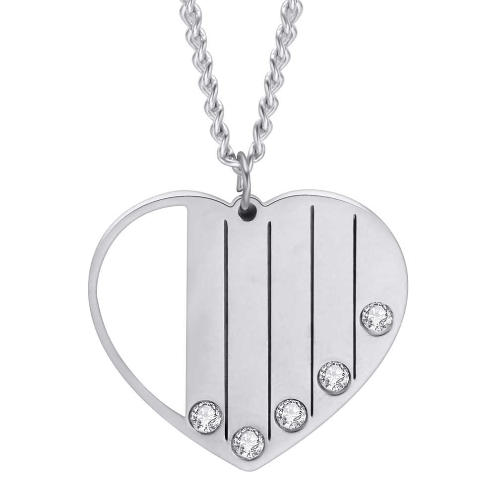 DIY Engrave Stainless Steel Custom Necklace With Crystals Hollow Heart Pendants Necklaces For Women Fashion Minimalist Jewelry