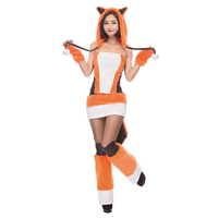 LMFC 2018 New Adult Womens Sexy Orange Halloween Party Fox Costumes Outfit Fancy Animal Anime Cosplay Dress Lovely With Big Tail