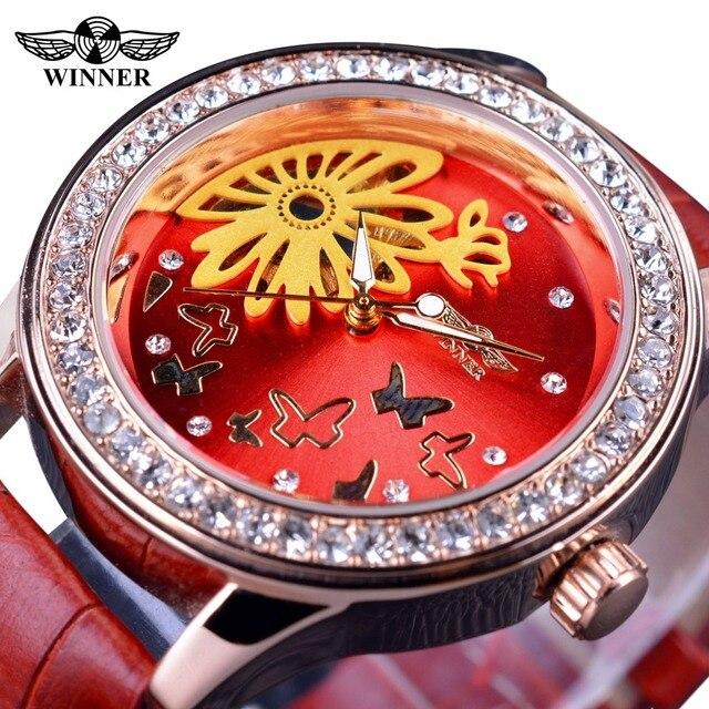 fadd8e56b الفائز 2017 نساء موضة ساعات عادية تصميم الصينية الأحمر الماس حالة شفافة  الإناث أعلى ماركة الساعات