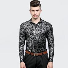 Leopard sequins fashion slim shirt men Sexy snakeskin glossy face with long sleeves teenage shirts mens singer stage