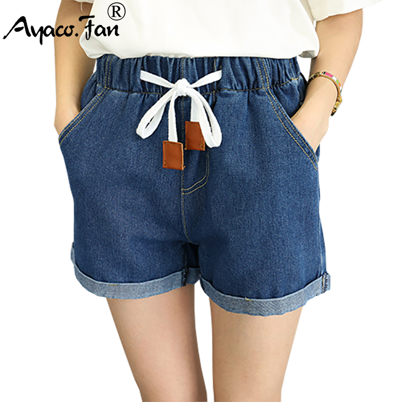 Hot Sale Summer 2017 New High Waist Shorts Casual Women Loose Straight Denim Short Pants Students Elastic Waist Jeans Shorts