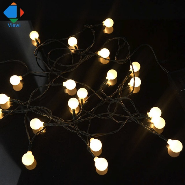 viewi 6m 30 leds mini bulb ball frosted shell led string christmas light outdoor ip65 solar