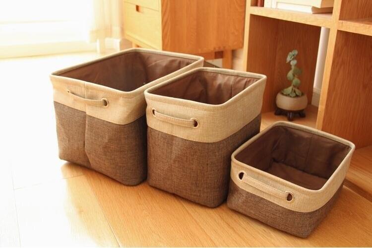 Cotton & Jute Portable Foldable Organizer Boxes, Big