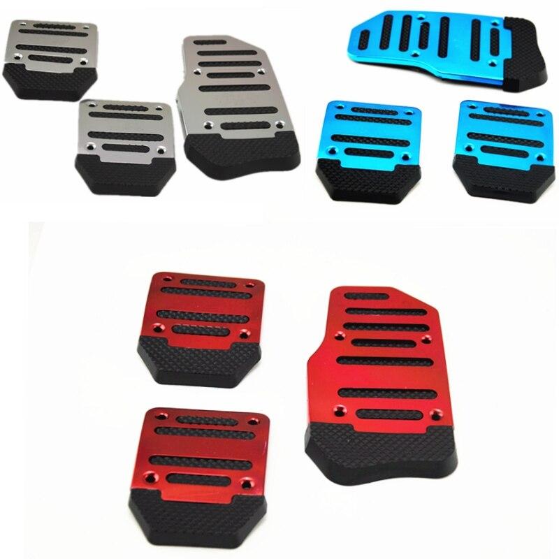유니버설 알루미늄 수동 전송 3 pcs 비 슬립 자동차 페달 커버 세트 키트 pedali 레드/블루/실버 자동차 스타일링