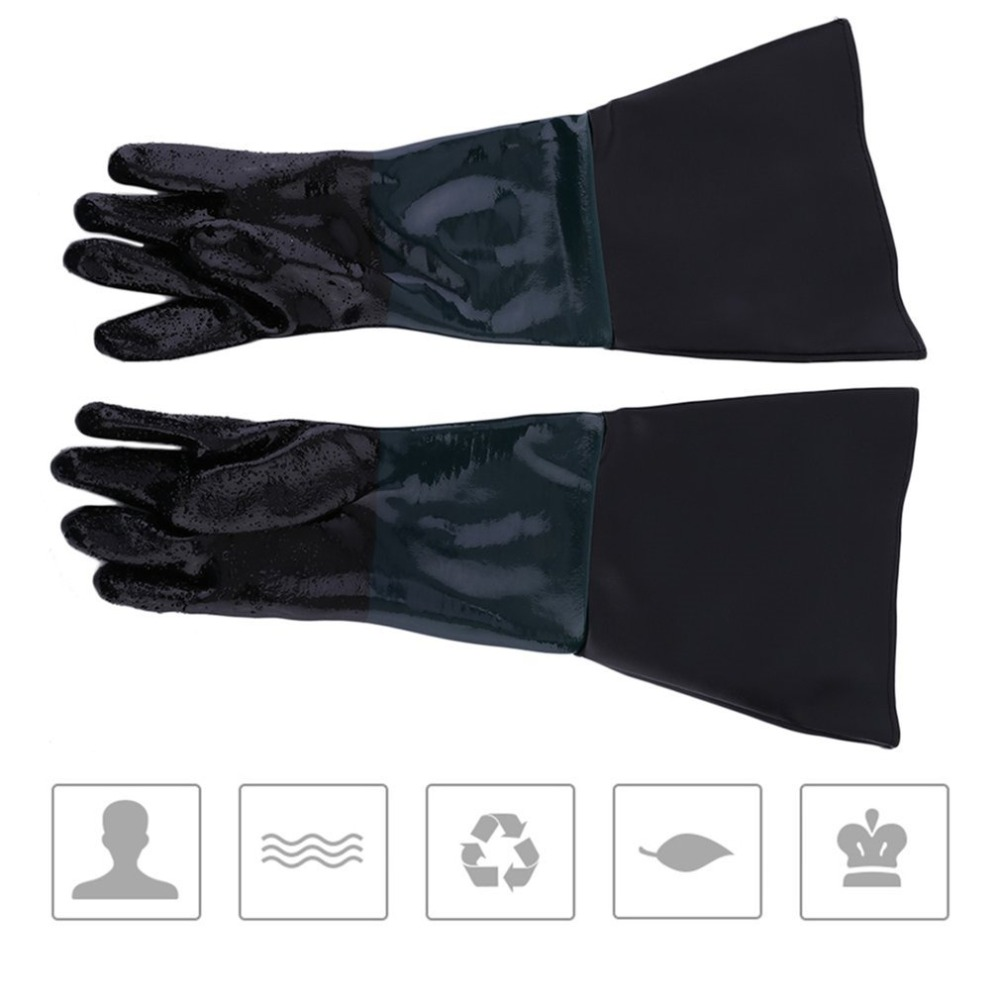 1 Pair 600MM Durable Soft Heavy Duty Protective Sandblasting Replacement Machine Gloves For Sandblaster Sand Blast Cabinet  Work
