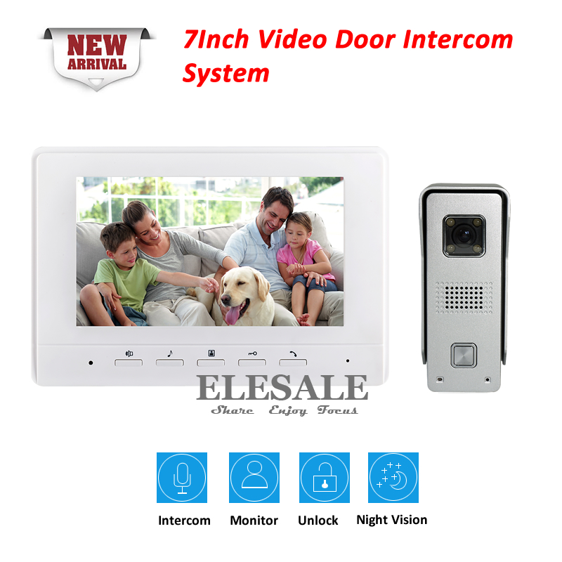 7 Wired Video Intercom Door Phone Doorbell System Rainproof IR Camera Night Vision Color LCD Monitor Home Security Kit tmezon 4 inch tft color monitor 1200tvl camera video door phone intercom security speaker system waterproof ir night vision 4v1