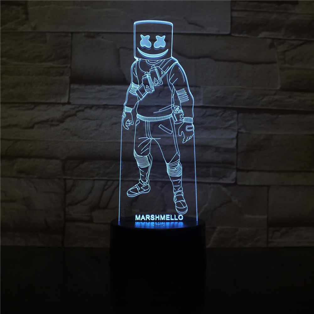 Marshmello Skin Figure Led Novelty Night Light For Kid Home Decor Child Game 3D Lamp Marshmallow Battle Royale Game 33047161527