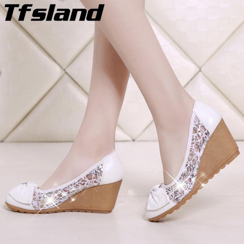 2018 Bowknot High Heels Shoes Women Pumps Genuine Leather Lace Sandals Sequin Wedges Shoes Net Gauze Single Walking Mother Shoes