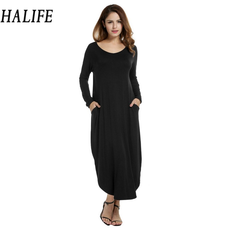 HALIFE 2018 Women Vestido Maxi Dress Long Sleeve O-Neck Side Slit Pocket Casual knitted Long Black Dress Robe Noel 10ZYQ petite striped long sleeve slit casual maxi dress