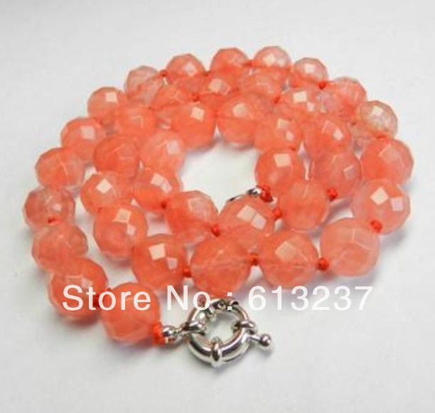 hot free Shipping new 2014 Fashion Style diy 10mm Faceted Pink <font><b>Watermelon</b></font> <font><b>Tourmaline</b></font> Necklace AAA MY5372 image