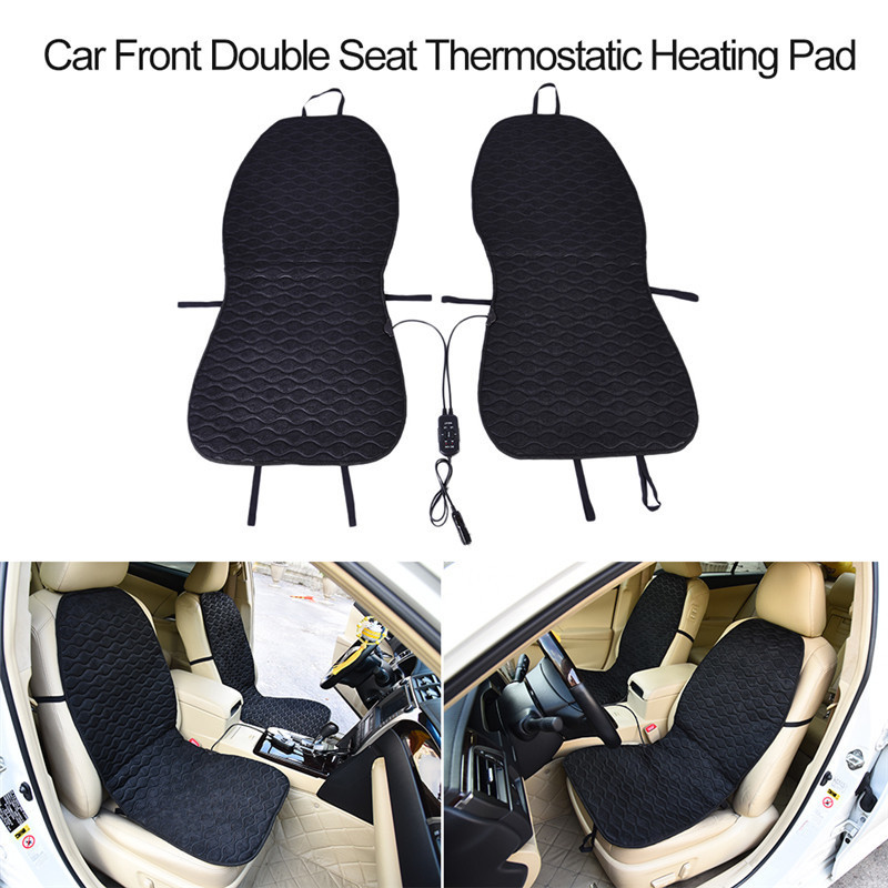 12V Car Double Front Seat Thermostatic Heating Pad Heating Cushion Cigarette Lighter Connector