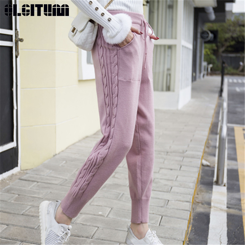 New Winter Lace-up Elastic Women Trousers 2018 Loose Knitted Pants Warm Thicken Stretchable Pantalones Mujer 5 Colors