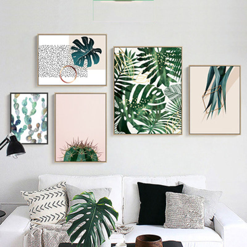 Tropical Plants Cactus Leaves Canvas Painting Nordic