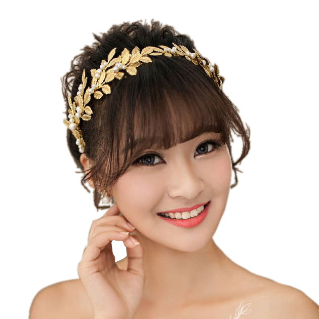 high quality leaf imitation pearl wedding headpiece accessories gold