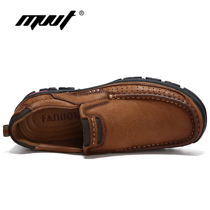 MVVT 100% En Cuir Véritable Chaussures Hommes En Cuir de Vache Casual Chaussures En Plein Air Masculins Haute Qualité Hommes Appartements 2 Style Dentelle- up Homme Chaussures - 4