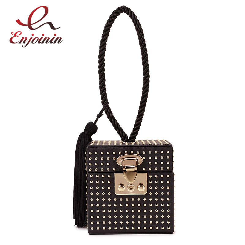 Punk Fashion Black Pu Gold Studded Retro Buckle Tassel Women Party Handbag  Bag Box Design Bag Female Bolsa Clutch Bag