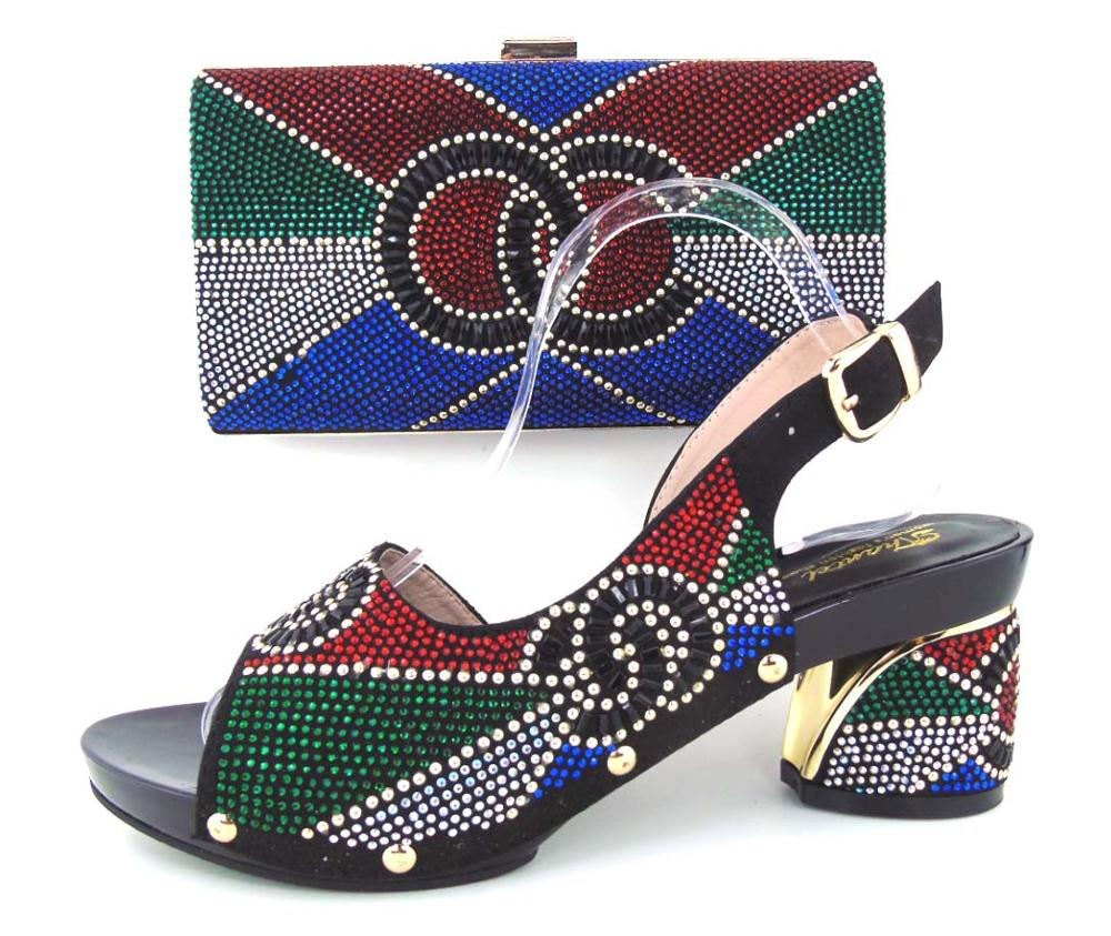 ФОТО 2017 New design Italian BLACK Shoes With Matching Bags African Women Shoes And Bags Set Good Selling! 4CM HEELS
